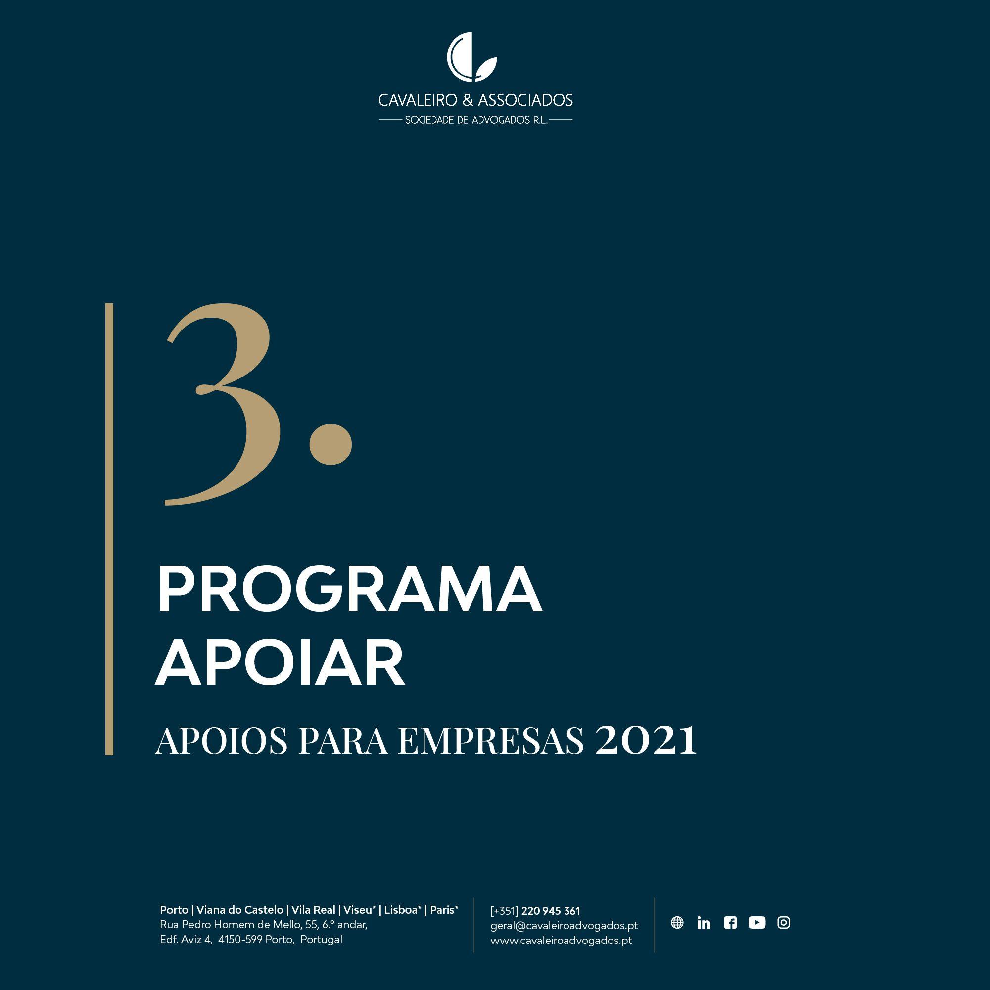 3. PROGRAMA APOIAR I APOIOS PARA EMPRESAS 2021