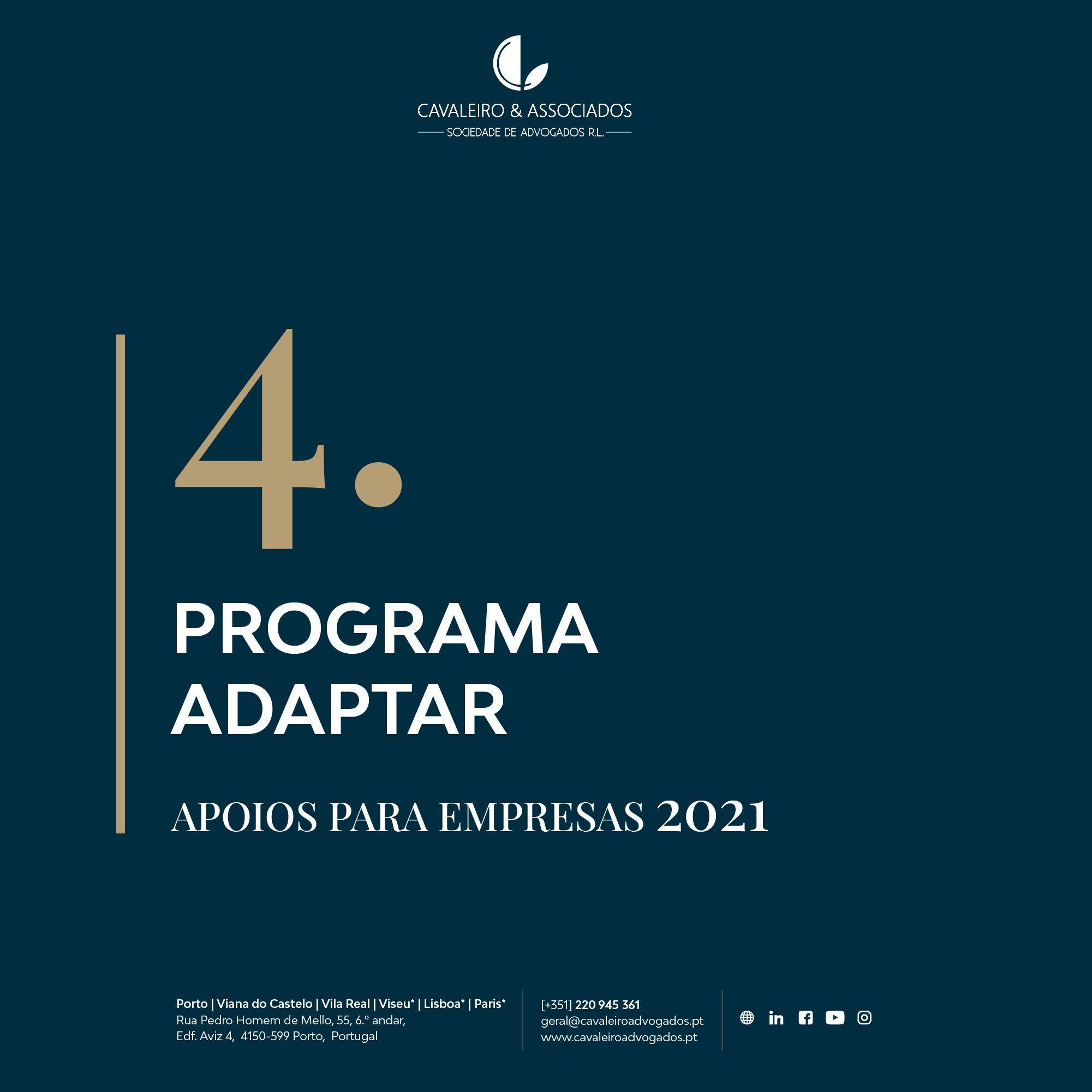 4. PROGRAMA ADAPTAR I APOIOS PARA EMPRESAS 2021