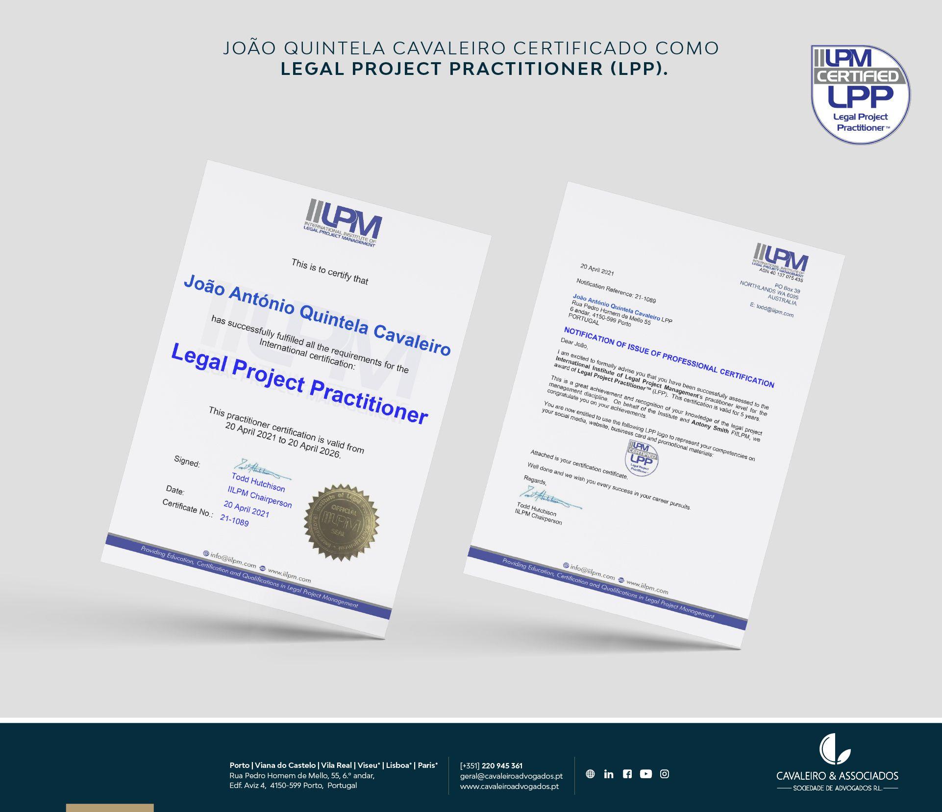 João Quintela Cavaleiro certificado como Legal Project Practitioner (LPP).
