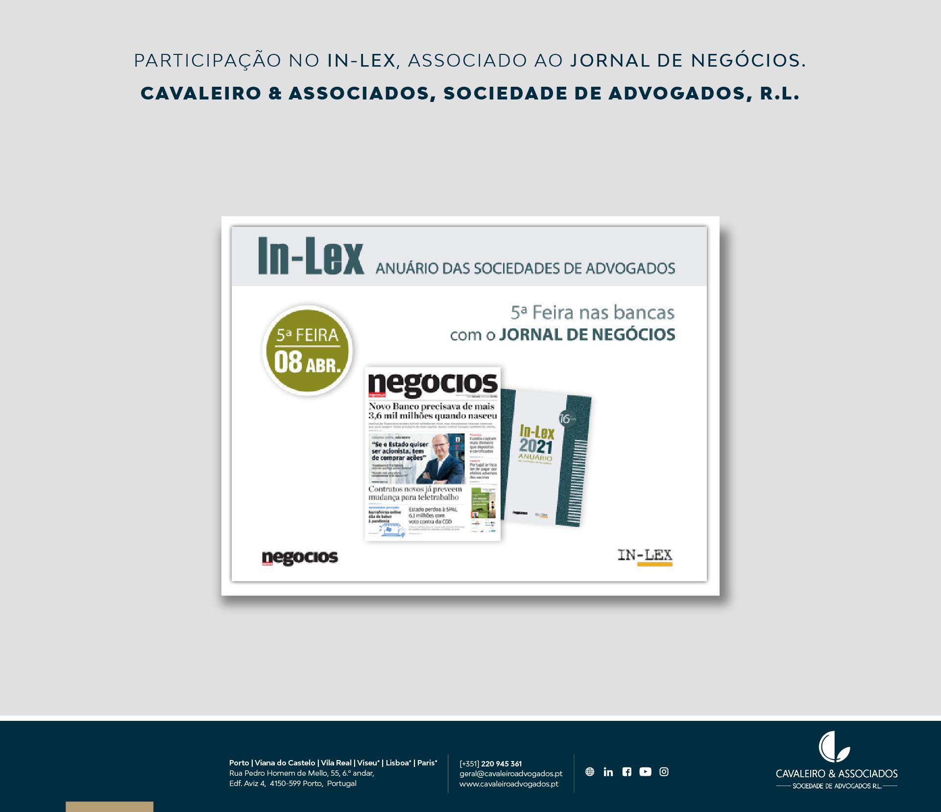 Participação no IN-LEX, associado ao jornal de negócios.