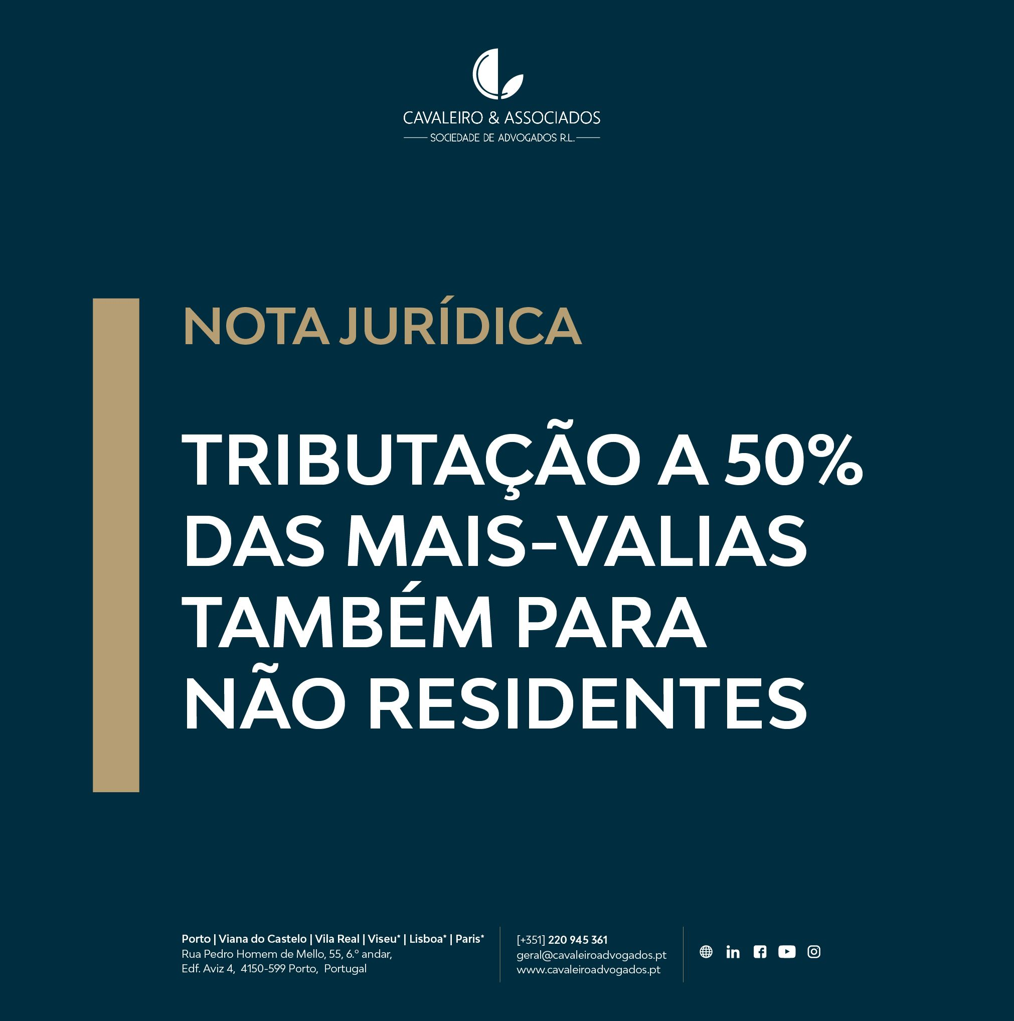 Tributação a 50% das mais-valias também para não residentes