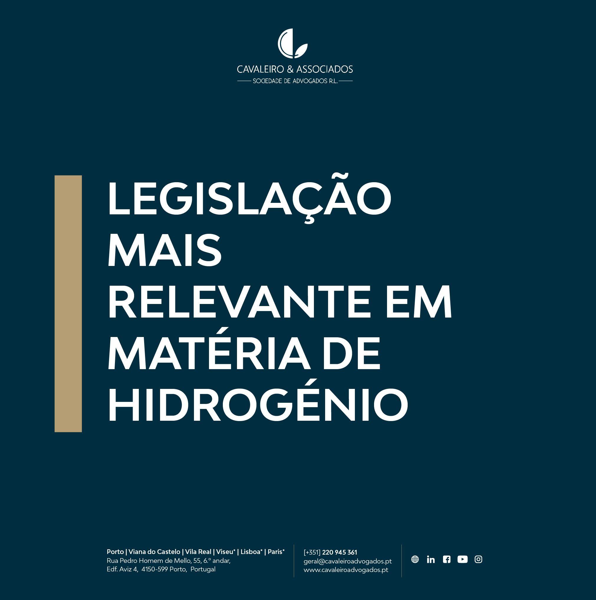 Legislação mais relevante em matéria de hidrogénio