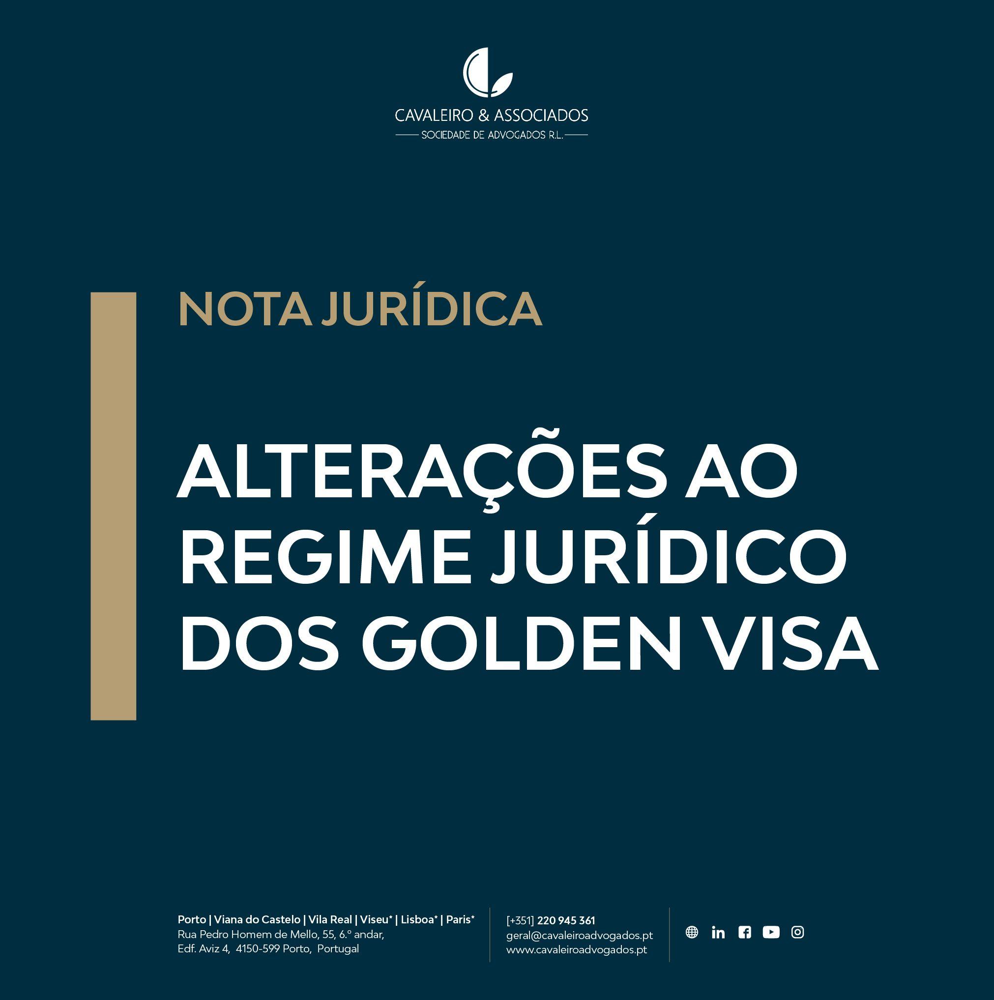 Alterações ao regime jurídico dos Golden VISA